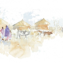 Leaving The Boma Field Sketch © Alison Nicholls