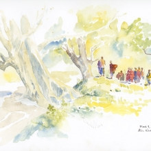 Maasai at Stream Field Sketch © Alison Nicholls