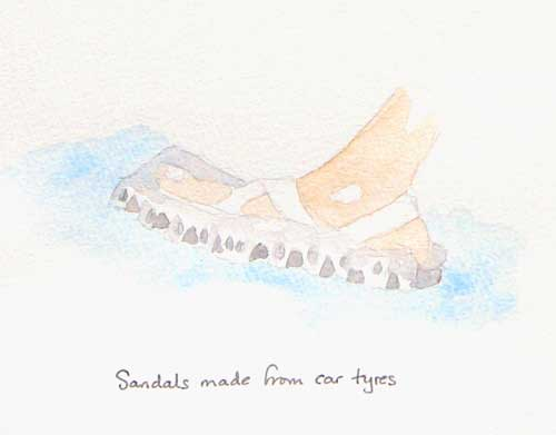 Sandals made from car tires, field sketch by Alison Nicholls